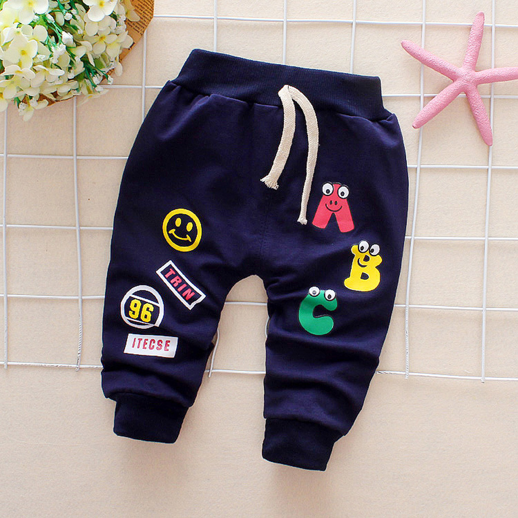2019 New Spring Winter For Baby Girl Boy Cartoon Letter Printed Warm Drawstring Trousers Infants Casual Sport Thickening Pants