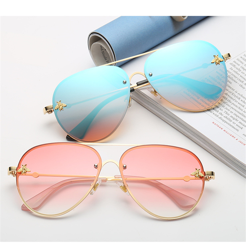 ASOUZ 2019 new fashion ladies sunglasses UV400 metal oval frame bee sunglasses classic brand design sports driving sunglasses image