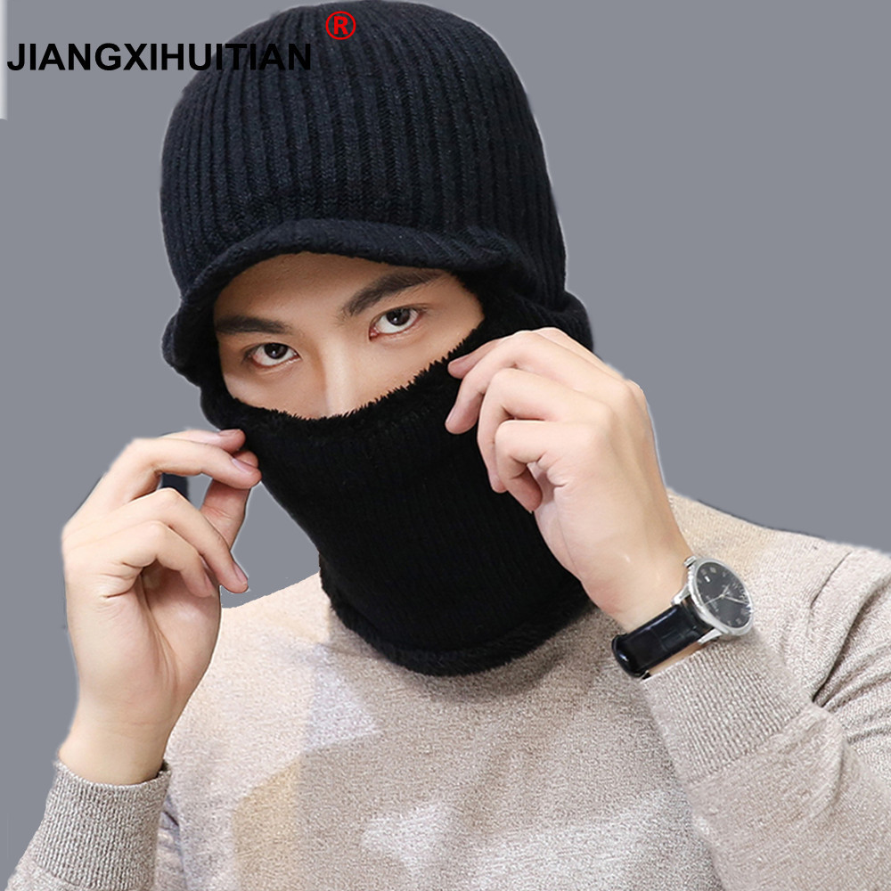 901c9f22680 Brand Balaclava Winter Men s Skullies Wo Knitted Balaclava Cap Ninja Mask  Thermal Plush Pocket Hat Snow Cap