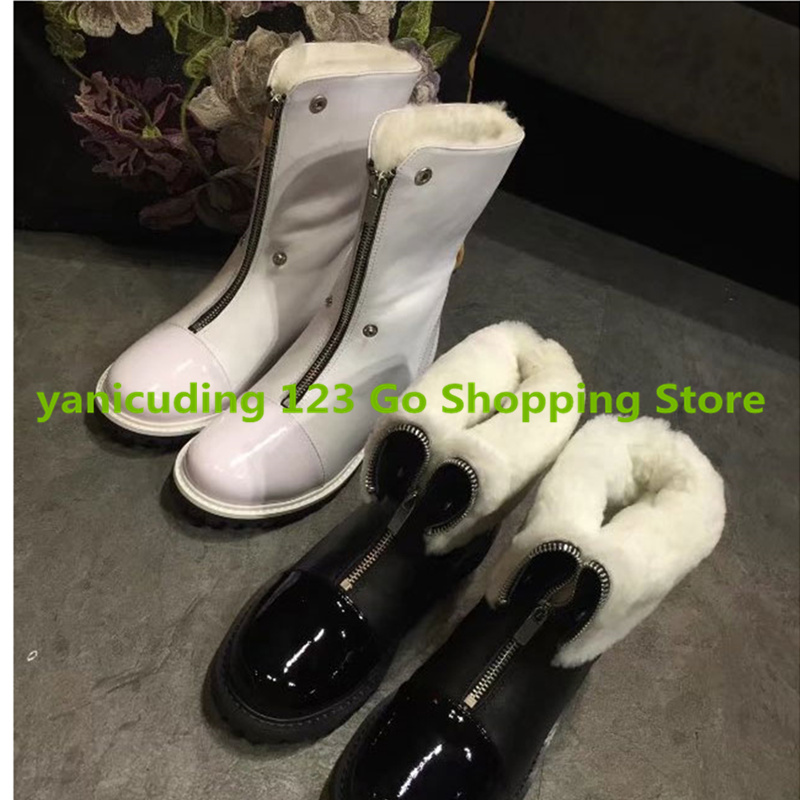 Front Zipper Warm Winter Women Shoes Heel Boots Mid-calf Snow Boots Black White Color Round Toe Chaussures Femmes Brand Design most popular women summer mid calf boots high heel sandals open toe cutouts design elegant black stilettos ladies casual shoes