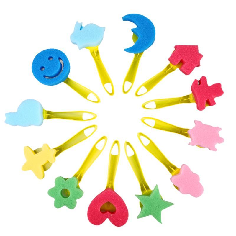 12pcs/set Mixed Pattern Colored Child Sponge Paint Brush Kids Art Graffiti Drawing Toy Tool Plastic Handle Brushes School Supply Office & School Supplies