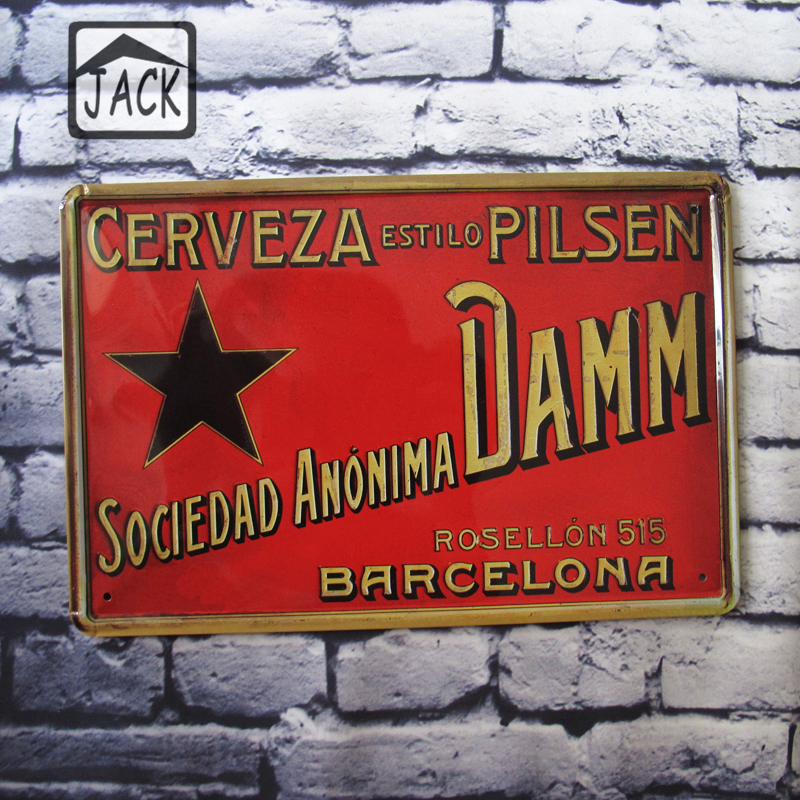 DAMM Beer Red Vintage Metal Tin Sign Hall House Lounge Gallery Living Room Garden Bar Club