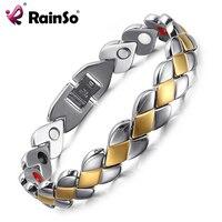 Rainso Brand Men Black Stainless Steel Carbon Fiber Shield Design Full Magnetic Charm Balance Bracelet For
