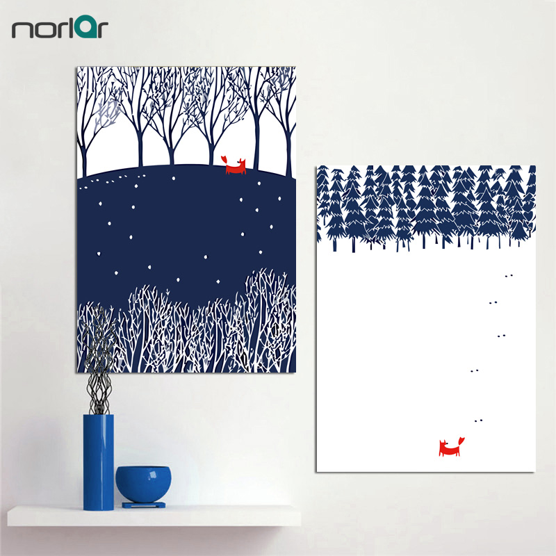 Canvas Painting Wall Picture Art Canvas Print Poster Fox in Snow Stock Vector and Blue Forest Wall Art Home Decor No Frame ...