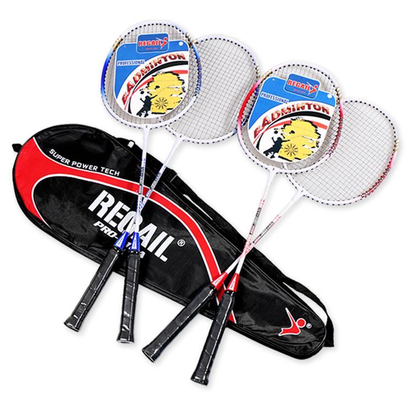Badminton Racket Double Shot Adult Beginner Offensive Durable Children Students Aluminum Resistant To The Racket
