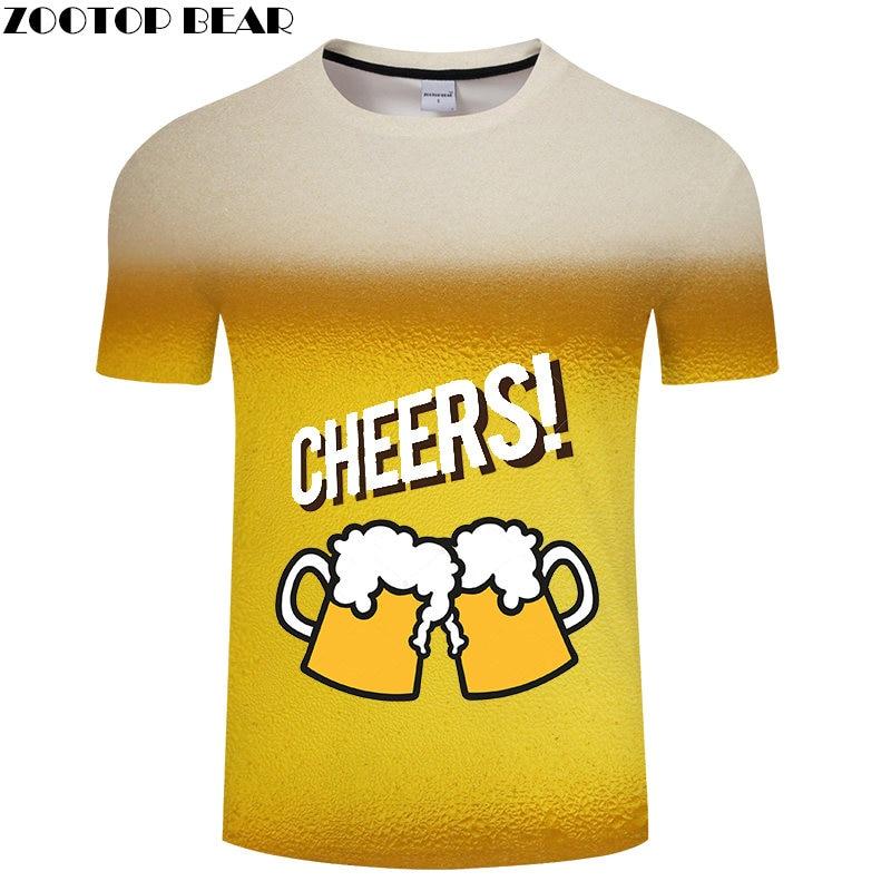 Cartoon Beer Men t shirt Breathable 3D Print Brand Mens t-shirt CHEERS Casual Short Shirts Drop Ship Quick Dry Tops ZOOTOP BEAR