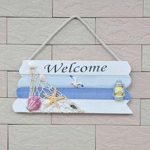 Добро Пожаловать Знак Творческий Добро пожаловать Деревянные Настенные подвесные с рыболовной сеткой домашний декор магазин морское украшение