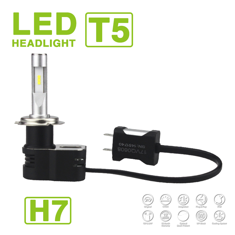 H1 H4 H7 <font><b>H8</b></font> H9 H11 9005 9006 9012 Turbine T5 <font><b>LED</b></font> Headlight Slim Kit 60W 9600LM CSP Y19 Chips All-in-one White 6K <font><b>Auto</b></font> Car Bulbs