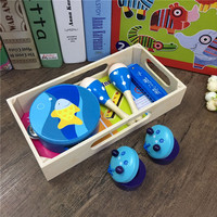 MamimamiHome Baby Musical Toy Early Education Toys Wooden Sand Hammer Harmonica Castanets Orff Music Teaching Aids
