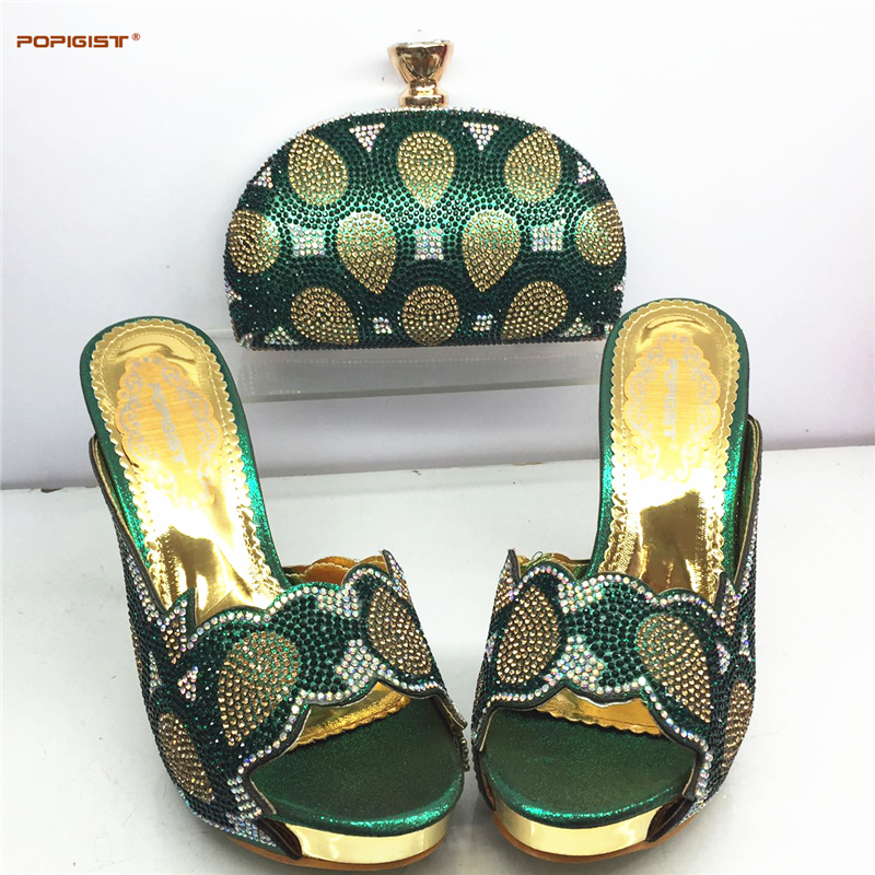 Green Fashion Matching Italian Shoes And Bag Set African Women Matching Italian Shoe And Bag Set ...