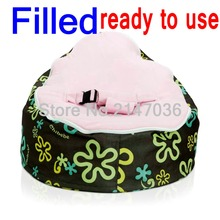 WITH BEANS Inside, ready to use, baby bean bag chair, floral pink seat kids sleeping beanbag beds — 600D oxford original chairs
