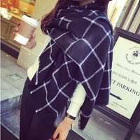 Size 200 85cm Cashmere Shawl Large Soft Heavy Scarf Wrap Black And White Plaid For Women