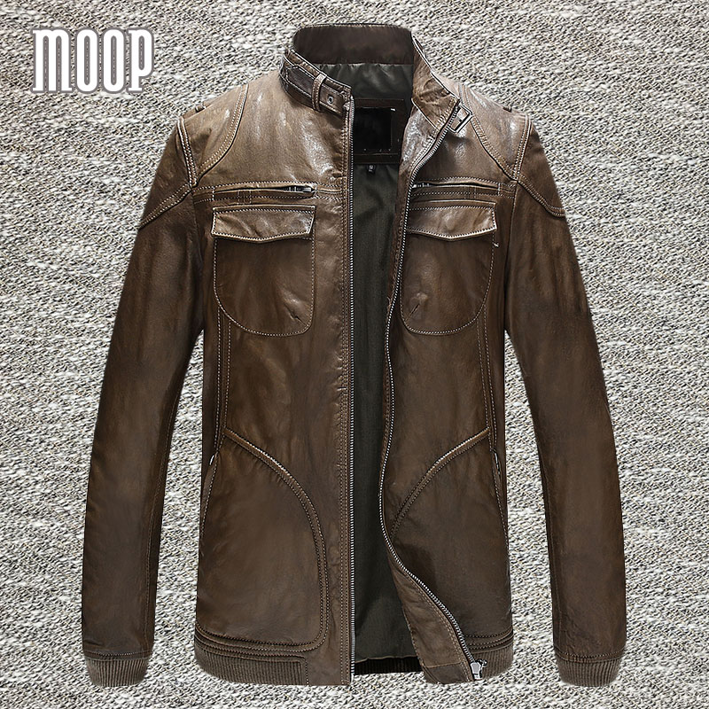 Genuine leather font b jacket b font font b men b font sheepskin rock coats motorcycle