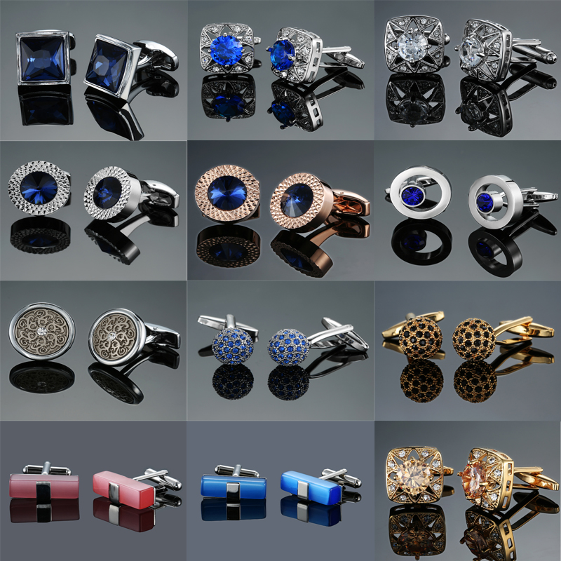 Cufflink Suit-Accessories Jewelry Shirt Gift Crystal Novelty Blue High-Quality Mens Brand
