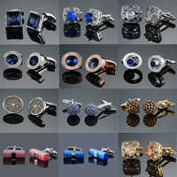 Novelty fashion shirt cufflink for mens gift Brand cuff button red blue Crystal cuff link High Quality Suit accessories Jewelry