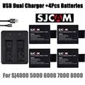 Nova 4 pcs SJCAM sj4000 carregador de bateria + 4000 sj sj sj 5000 6000 Dual USB carregador para câmera SJCAM sj4000 sj5000 sj6000 sj7000