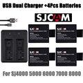 Nuevo 4 unids batería + sj 4000 sj 5000 sj SJCAM sj4000 6000 cargador USB Dual para sj4000 SJCAM sj5000 sj6000 cámara sj7000