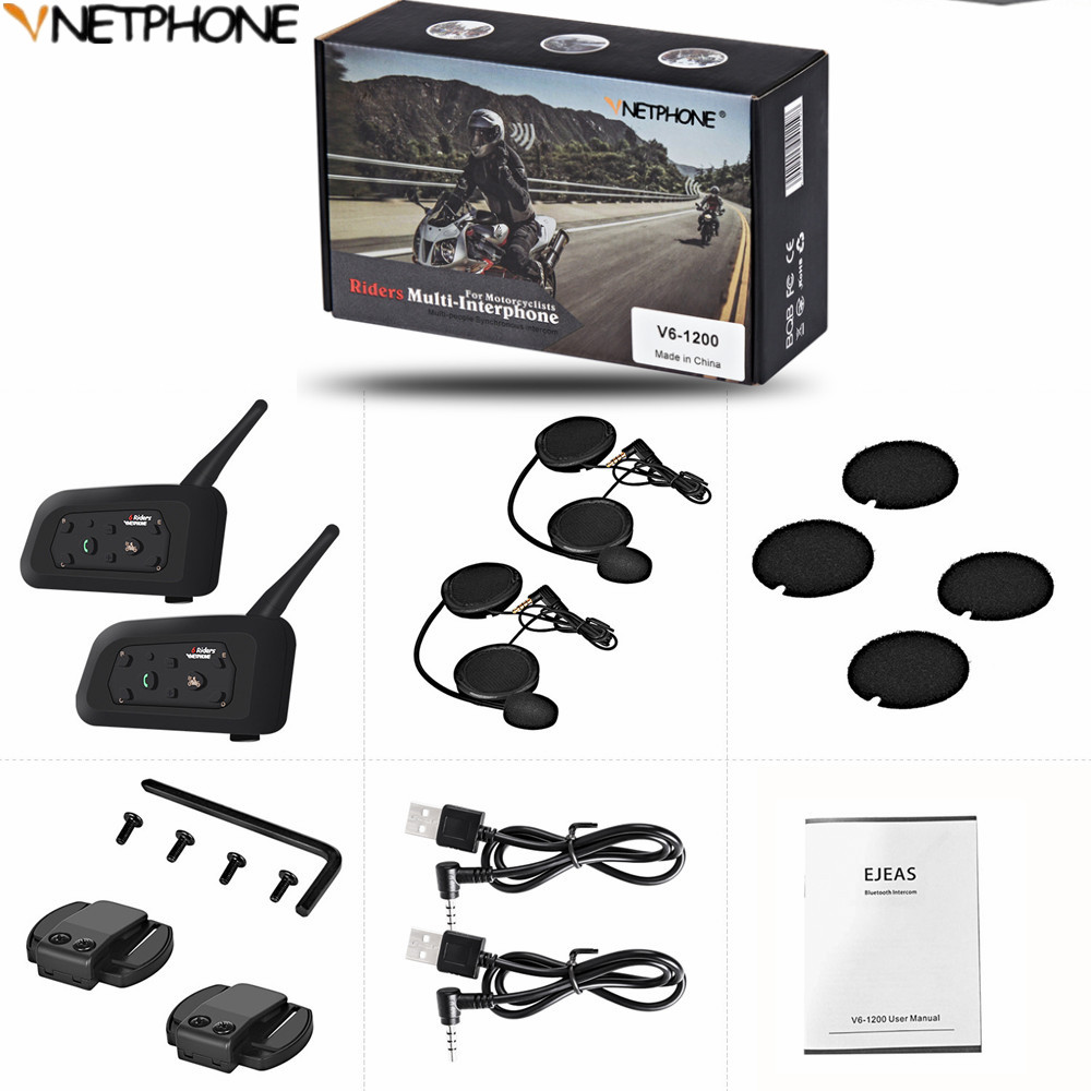 2pcs Multi Interphone 1200M Motorcycle Bluetooth Helmet Intercom Intercomunicador Moto Interfones Headset For 6 Rider MP3 GPS