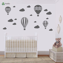 Hot Air Balloons & Clouds Wall Stickers Kids Nursery Rooms Wall Decal Vinyl Wall Art Decor Sticker Interior Home Mural DIY ZW169 eco friendly custom name airplane clouds decal nursery decor boys kids room decor vinyl wall sticker airplanes with clouds y 80