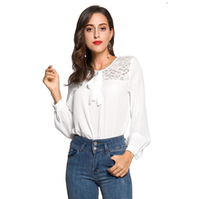 e3853714f07 Louyebouho Women Fashion Lace Chiffon Shirts Casual Long Sleeve Solid Color Shirt  Bowknot Office Blouses Bodycon