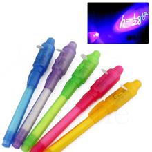 лучшая цена NEW 2 In 1 UV Black Light Combo Creative Stationery Invisible Ink Pen