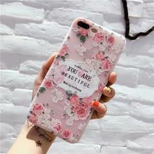 Mobile Phone Case Tpu White Matte Embossed Bird Language Floral Protective Shell For Iphone(China)