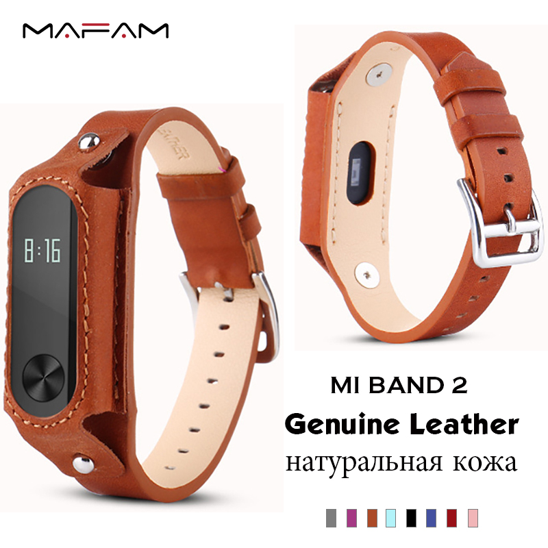 Genuine Leather Strap For Xiaomi Mi Band 2 Straps Screwless Stainless Steel band Bracelet Replace strap For Xiaomi Mi Band 2 metal strap for mi band xiaomi wristband replace accessories screwless stainless steel bracelet for mi band 2