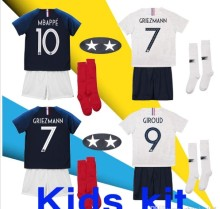 51dbe36e9 France 2 two stars GRIEZMANN MBAPPE Kids kit soccer jersey boys child world  cup 2018 POGBA UMTITI LACAZETTE football shirt unif