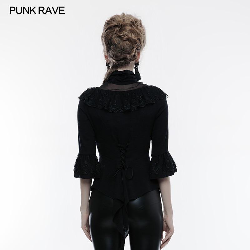 Femmes Shirt Chemise Parti Victorienne Manches shirt Mode De Rave Kera Trois Punk Gothique Tops T Noir Vintage Steampunk Trimestre gxwW5PZqOT