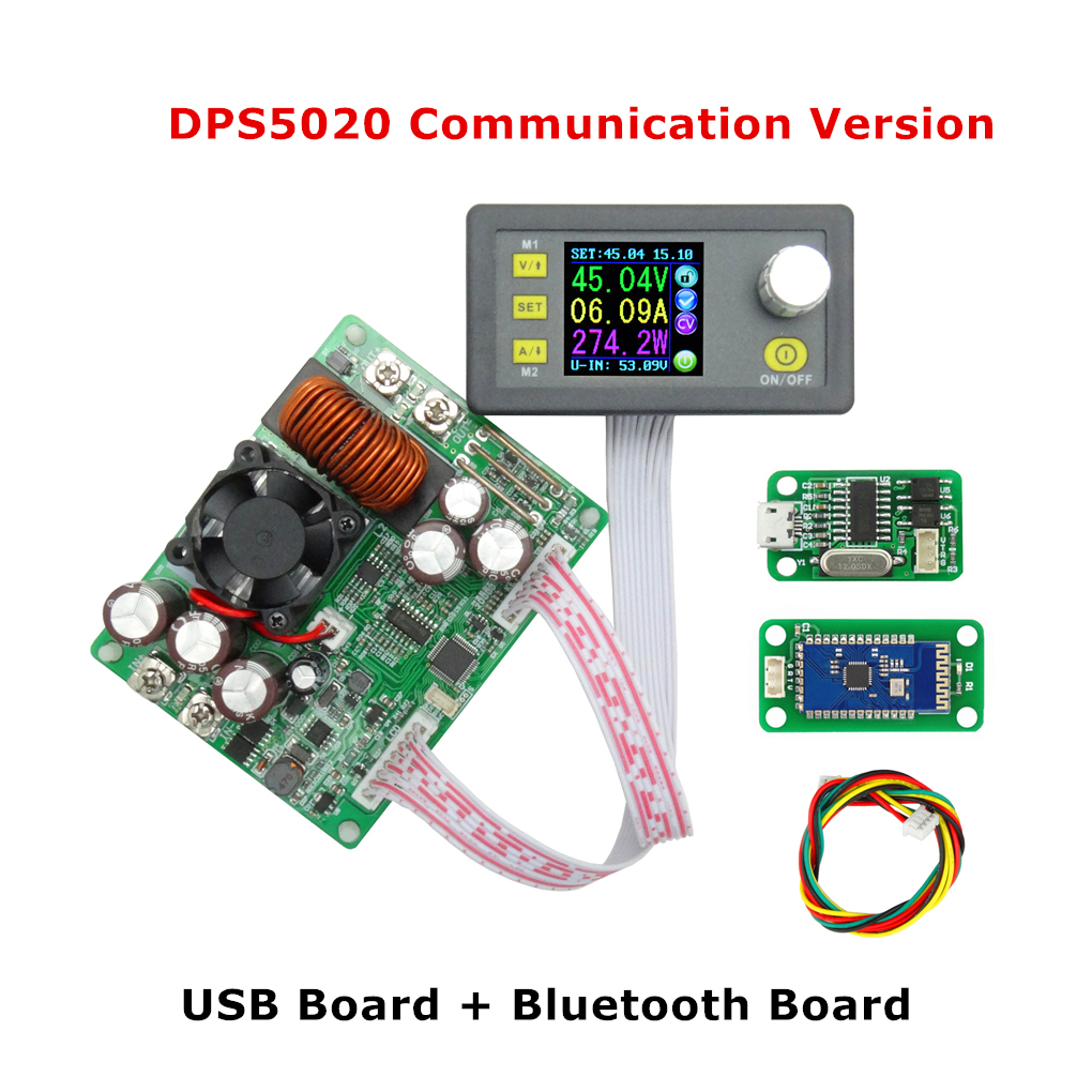 USB Bluetooth Communication Constant Voltage Current Step-down Digital Power Supply Buck Voltage Converter LCD Voltmeter dps5020 constant voltage current step down communication digital power supply buck voltage converter lcd voltmeter 50v 20a