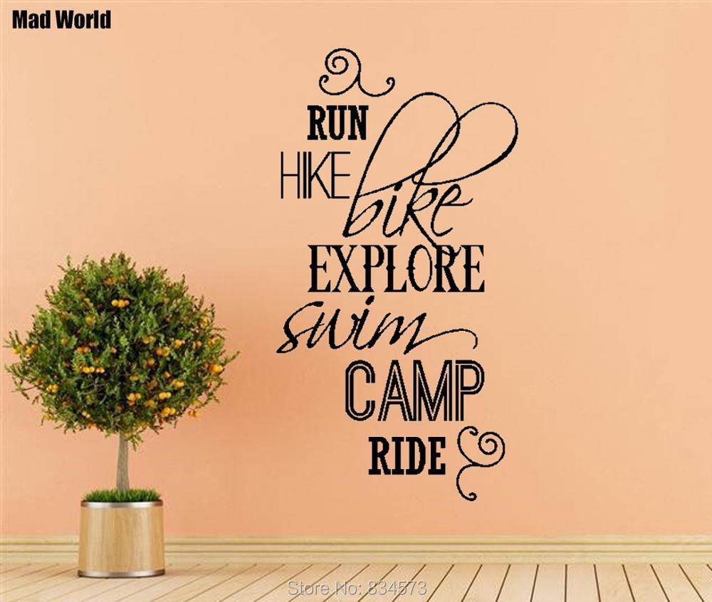 Mad World RUN HIKE BIKE SWIM CAMP RIDE Quotes Wall Art Sticker Wall ...
