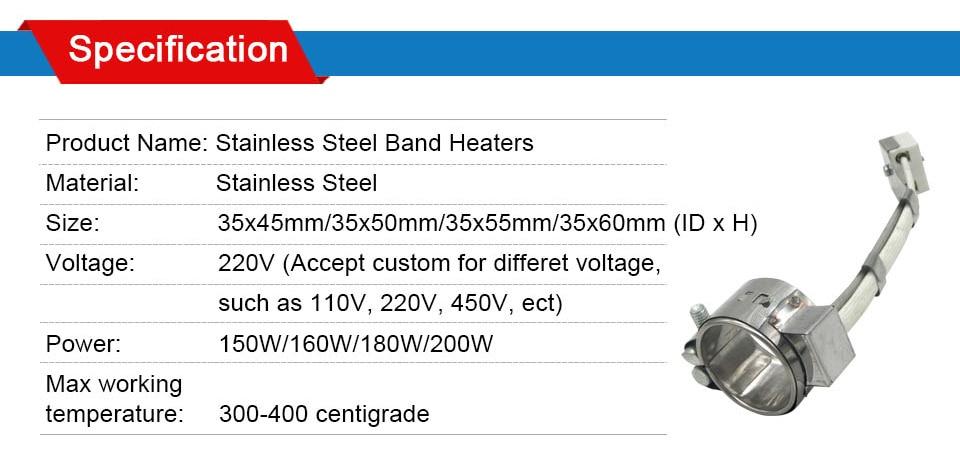 LJXH 2 шт нагревательная полоса 35x45 мм/35x50 мм/35 х 55 мм/35x60 мм Нержавеющаясталь, Керамика Нагревательный элемент AC220V 150 W/160 W/180 W/200 W