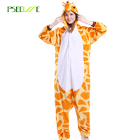 Winter Unisex Party Cosplay Animal Pajamas One Piece Flannel Cartoon Adult Giraffe Pajamas For Women Kigurumi