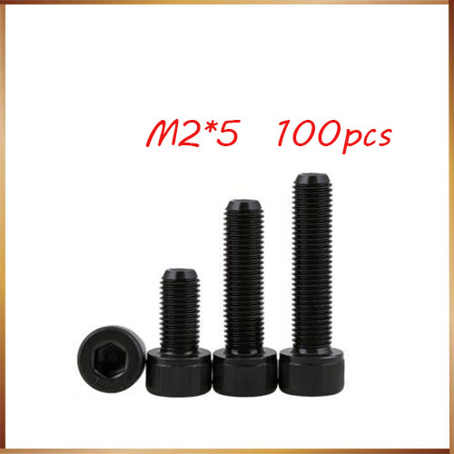 100pcs/Lot Metric Thread DIN912 <font><b>M2x5mm</b></font> M2*5 mm Black Grade 12.9 Alloy Steel Hex Socket Head Cap Screw Boltsstainless bolts,nails image