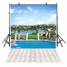 5x7ft Sunny Weather Backdrop Quiet Swimming Pool Photography Background Studio Props