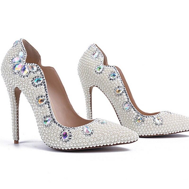 Ceremonia Tacones En Alto Mujer Señora Bombas 11cm Boda Punta Nightclub Heels Sexy Adultos White Talón 2018 Zapatos Blanco Del Perla qCWP50O