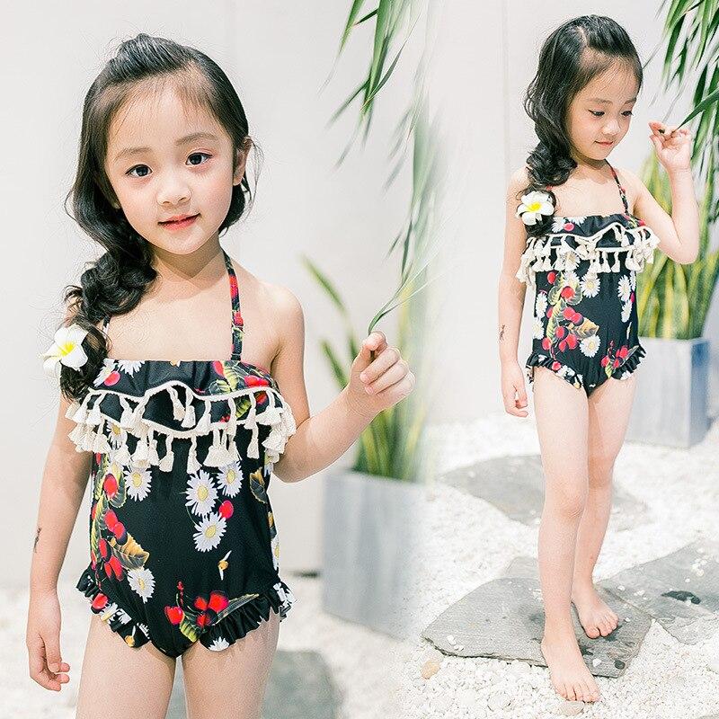 2017 New Kid Girls Swim One Piece Suits Little Princess Tassels Falbala Swim Set Daisy Print Beach Wear Black Pink