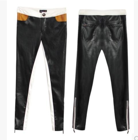 Nouvelles 2017 Couleur Costumes Cuir Mince Bloc Élastique 5xl Éclair Taille Black Serré En Plus De Pantalon Chanteur S Mode Vêtements Fermeture Femmes La 5EF81q
