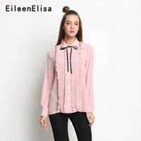 Розовая блузка Топы с длинными рукавами оборками рубашки дамы Повседневное Новый 2018 элегантный