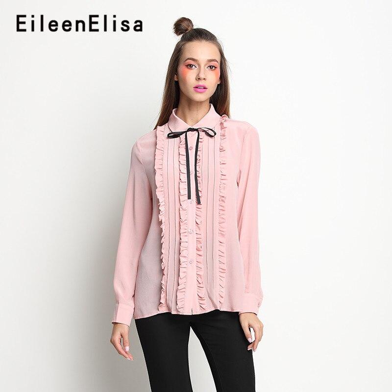 Chemisier rose à manches longues hauts volants chemises dames décontracté nouveau 2018 élégant