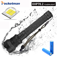 XHP70 40W 55000LM LED Flashlight Torch USB Rechargeable Flashlight zoomable Tactical defense flashligh For Camping hunting