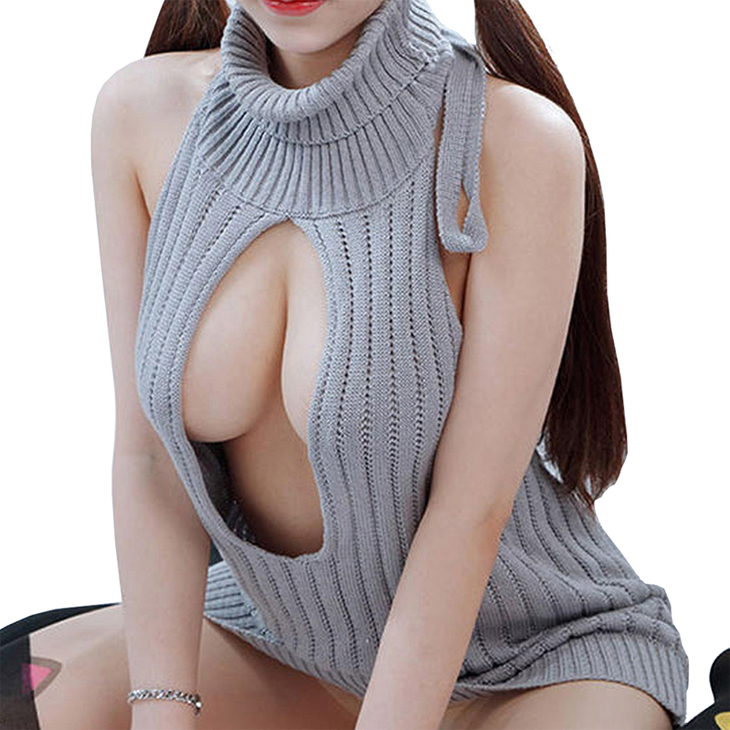 Japanese style Open chest  Sweater playing version killing breast swimwear high neck one pieces Sexy Bathing Suits Free size kind worth killing