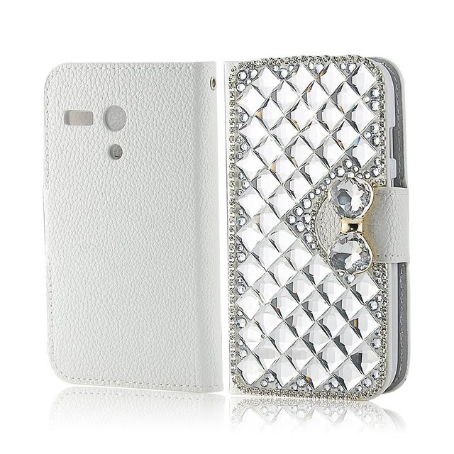 Extreme Luxury 3D Bling Crystal Diamonds Leather Wallet with Credit Card Slot Flip Diamond Case Cover for Motorola MOTO G XT1032