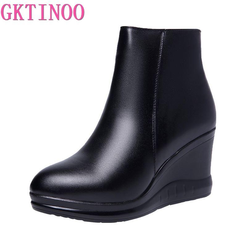 GKTINOO 2020 en cuir véritable automne hiver bottes chaussures femmes bottines femme bottes compensées femmes botte plate-forme chaussures chaud