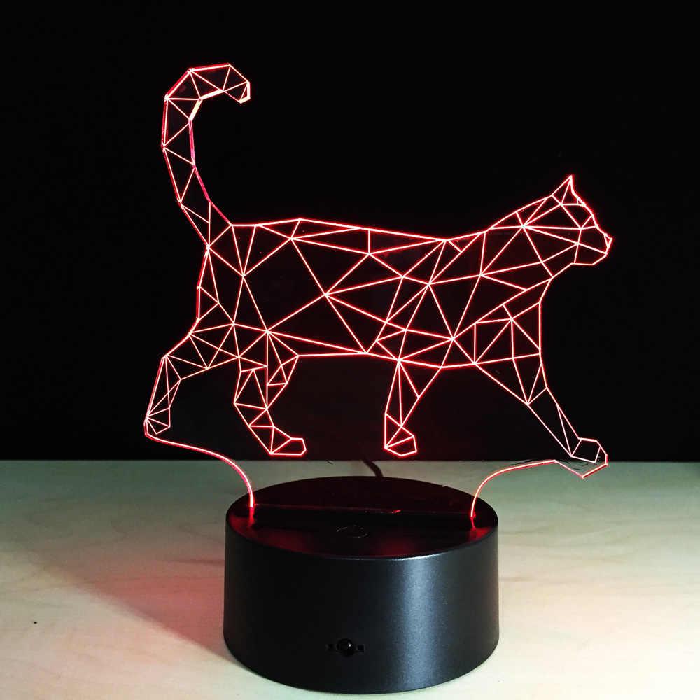 НОВЫЙ ПРОГУЛОЧНЫЙ Кот 3D ночник акриловый стереоссветодио дный копический Светодиодные Красочные лампы плагин градиентная атмосфера лампа