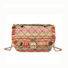 Straw Bags Colorful stripes tassel Beach bag Women Small chain shoulder bag  Summer 2018 Handmade Woven 5610bbd2a708