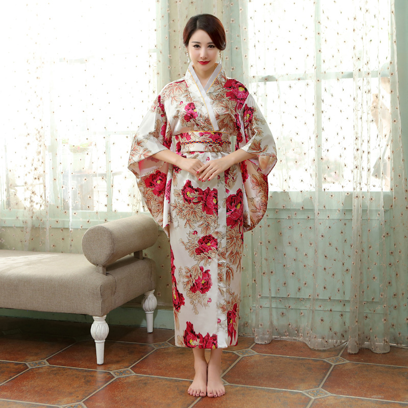 Red Chinese Traditional  Gown Women's Satin Kimono Robe
