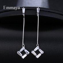 Emmaya Female Luxury Crystal Zircon Stud Earrings Silver Wedding Jewelry Big White Long For Women