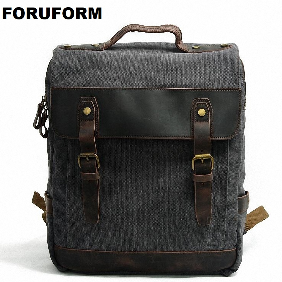ForUForM Man's Canvas Backpack Travel Schoolbag Male Backpack Men Large Rucksack Shoulder School Bag Mochila Escolar LI-1920