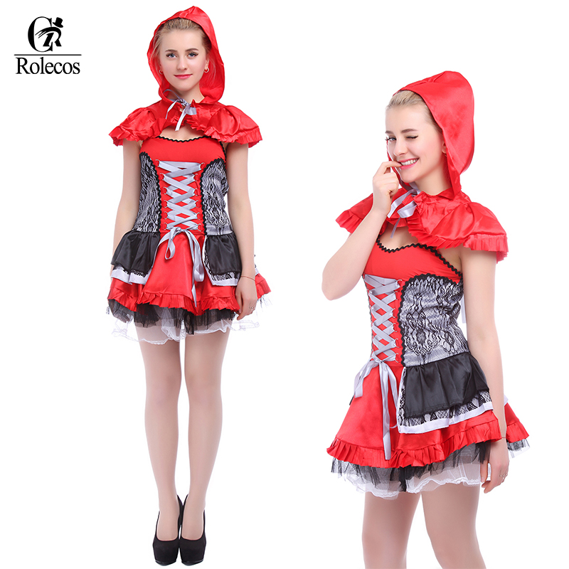 Rolecos Holloween Sexy Little  Red Red Riding Hood Costume  For For Adult -1655
